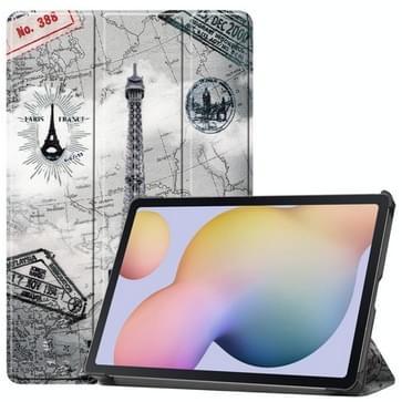 Voor Samsung Galaxy Tab S7 T870 Gekleurd tekenpatroon Horizontaal Flip Lederen hoesje met drievouwende houder & slaap / wake-up functie(Retro Tower)