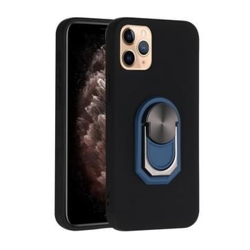 Voor iPhone 12 mini PC + TPU Schokbestendige beschermhoes met ringhouder(Zwart Blauw)