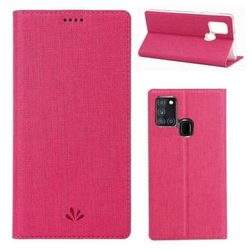 Voor Samsung Galaxy A21s ViLi Magnetic Suction Shockproof TPU + PU Horizontale Flip Beschermhoes met kaartslot & houder(Rose Red)