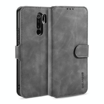 Voor Xiaomi Redmi 9 DG. MING Retro Oil Side Horizontale Flip Case (Grijs)