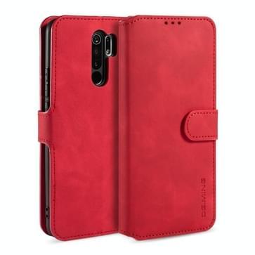 Voor Xiaomi Redmi 9 DG. MING Retro Oil Side Horizontale Flip Case (Rood)