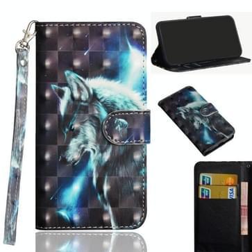 Voor Samsung Galaxy A21s 3D Painting Pattern Horizontale Flip TPU + PU Lederen hoes met Holder & Card Slots & Wallet(Wolf)