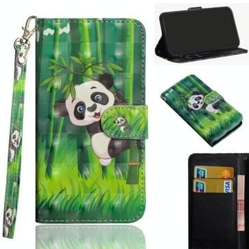 Voor Samsung Galaxy A21s 3D Painting Pattern Horizontale Flip TPU + PU Lederen case met Holder & Card Slots & Wallet (Panda Climbing Bamboo)