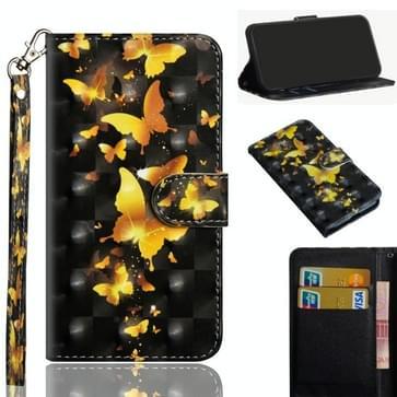 Voor Samsung Galaxy A51 5G 3D Schilderpatroon Horizontaal Flip TPU + PU Lederen hoesje met Holder & Card Slots & Wallet(Golden Butterfly)