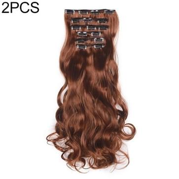 2 PCS 50cm 16 Card Long Curly Hair Wig Seamless Hair Extension Piece(18.30#)