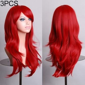 3 PCS Anime Cos Role Playing Wig Cosplay Color Stage Headgear (Rood)