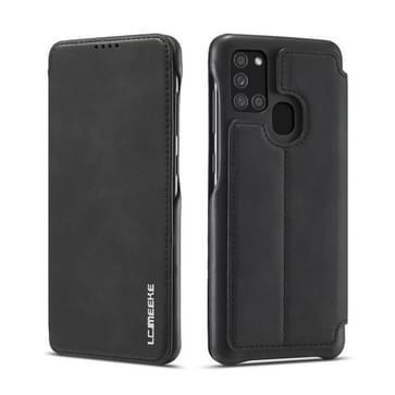 Voor Samsung Galaxy A21s LC.IMEEKE Hon Ancient Series Horizontale Flip Lederen kast met Holder & Card Slot(Zwart)