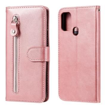 Voor Samsung Galaxy M31 Fashion Calf Texture Zipper Horizontale Flip Lederen Case met Holder & Card Slots & Wallet(Rose Gold)