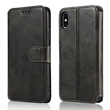 Voor iPhone X / XS Kalf Texture Magnetic Buckle Horizontale Flip Lederen Case met Holder & Card Slots & Wallet & Photo Frame(Zwart)