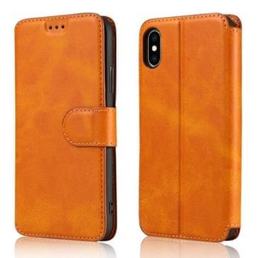 Voor iPhone X / XS Kalf Texture Magnetic Buckle Horizontale Flip Lederen Case met Holder & Card Slots & Wallet & Photo Frame(Khaki)