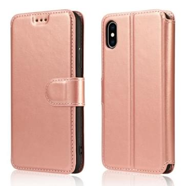 Voor iPhone X / XS Kalf Texture Magnetic Buckle Horizontale Flip Lederen Case met Holder & Card Slots & Wallet & Photo Frame(Rose Gold)