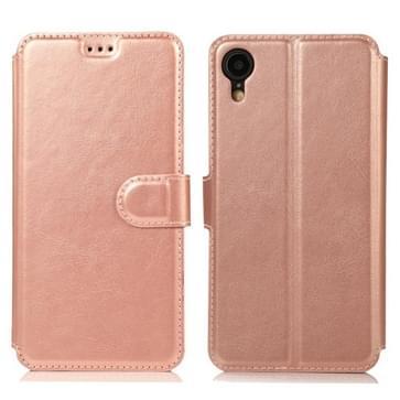 Voor iPhone XR Kalf texture magnetische gesp horizontale flip lederen case met houder & kaartslots & portemonnee & fotolijst (RoséGoud)
