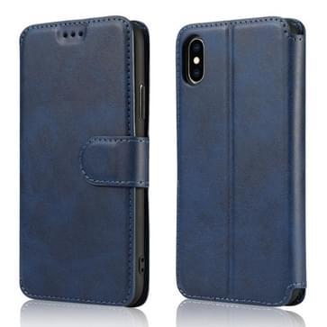 Voor iPhone XS Max Kalf texture magnetische gesp horizontale flip lederen case met houder & kaartslots & portemonnee & fotoframe(blauw)