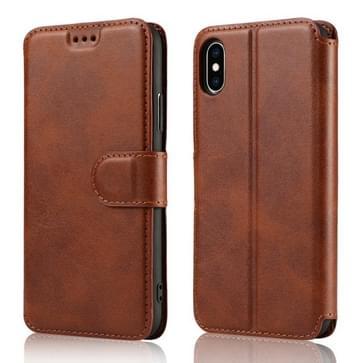 Voor iPhone XS Max Kalf Texture Magnetic Buckle Horizontale Flip Lederen Case met Holder & Card Slots & Wallet & Photo Frame(Bruin)