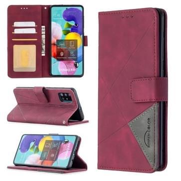 Voor Samsung Galaxy A51 Rhombus Texture Magnetic Buckle Horizontale Flip Lederen Case met Holder & Card Slots & Wallet & Photo Frame(Red)