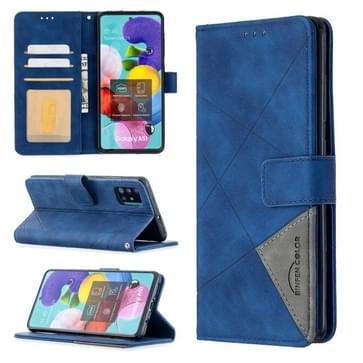 Voor Samsung Galaxy A51 Rhombus Texture Magnetic Buckle Horizontale Flip Lederen Case met Holder & Card Slots & Wallet & Photo Frame(Blauw)