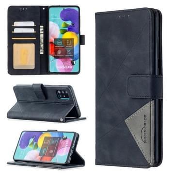 Voor Samsung Galaxy A51 Rhombus Texture Magnetic Buckle Horizontale Flip Lederen Case met Holder & Card Slots & Wallet & Photo Frame(Zwart)