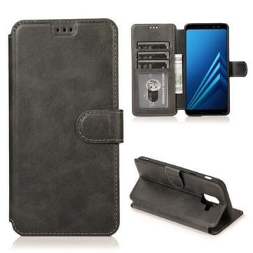 Voor Samsung Galaxy A6(2018) Kalf texture Magnetic Buckle Horizontale Flip Lederen case met Holder & Card Slots & Wallet & Photo Frame(Zwart)