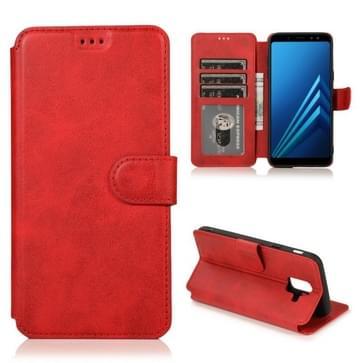 Voor Samsung Galaxy A6(2018) Kalf texture Magnetic Buckle Horizontale Flip Lederen case met Holder & Card Slots & Wallet & Photo Frame(Red)