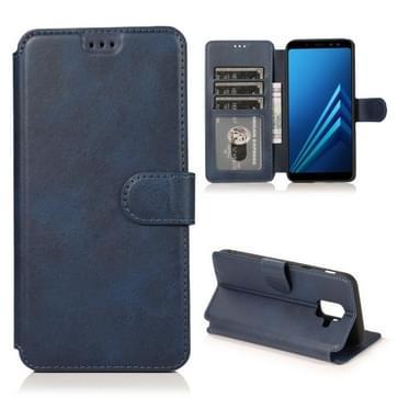 Voor Samsung Galaxy A6(2018) Kalf texture Magnetic Buckle Horizontale Flip Lederen case met Holder & Card Slots & Wallet & Photo Frame(Blauw)