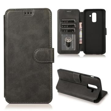 Voor Samsung Galaxy A6 Plus / A9 Star Lite Kalftextuur Magnetische gesp horizontale flip lederen kast met Holder & Card Slots & Wallet & Photo Frame(Zwart)