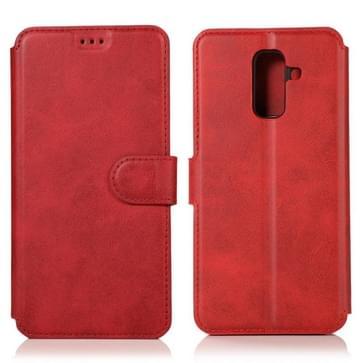 Voor Samsung Galaxy A6 Plus / A9 Star Lite Kalftextuur Magnetische gesp horizontale flip lederen kast met Holder & Card Slots & Wallet & Photo Frame(Red)