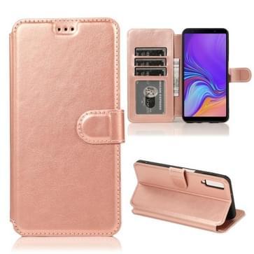 Voor Samsung Galaxy A7(2018) Kalf texture Magnetische gesp horizontale flip lederen kast met Holder & Card Slots & Wallet & Photo Frame (Rose Gold)