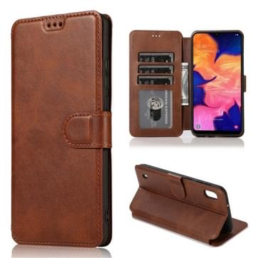 Voor Samsung Galaxy A10 Kalf texture Magnetic Buckle Horizontale Flip Lederen case met Houder & Card Slots & Wallet & Photo Frame(Koffie)