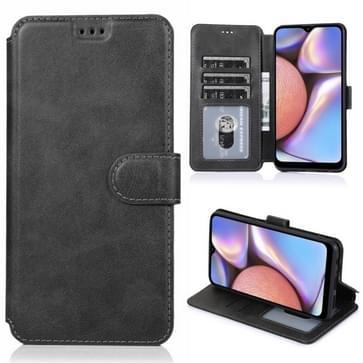 Voor Samsung Galaxy A10s Kalf texture magnetische gesp horizontale flip lederen case met houder & kaartslots & portemonnee & fotoframe(zwart)