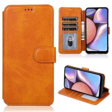 Voor Samsung Galaxy A10s Kalf texture magnetische gesp horizontale flip lederen case met houder & kaartslots & portemonnee & fotoframe (Khaki)