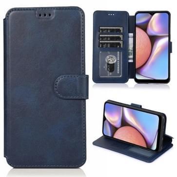Voor Samsung Galaxy A10s Kalf texture magnetische gesp horizontale flip lederen case met houder & kaartslots & portemonnee & fotoframe(blauw)