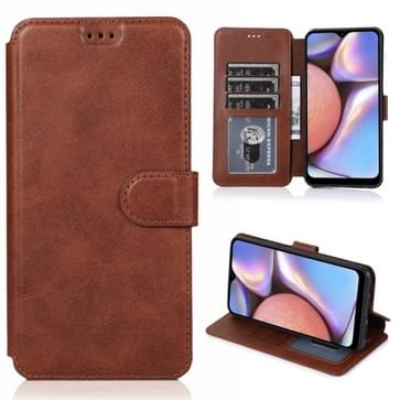 Voor Samsung Galaxy A10s Kalf texture magnetische gesp horizontale flip lederen case met houder & kaartslots & portemonnee & fotolijst(koffie)