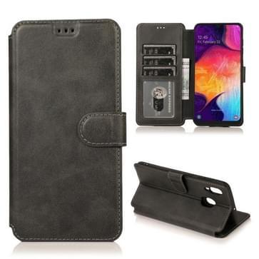 Voor Samsung Galaxy A30 Kalf texture Magnetic Buckle Horizontale Flip Lederen case met Holder & Card Slots & Wallet & Photo Frame(Zwart)