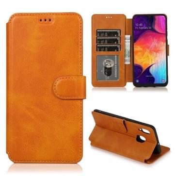 Voor Samsung Galaxy A30 Kalf texture Magnetic Buckle Horizontale Flip Lederen case met Holder & Card Slots & Wallet & Photo Frame (Khaki)