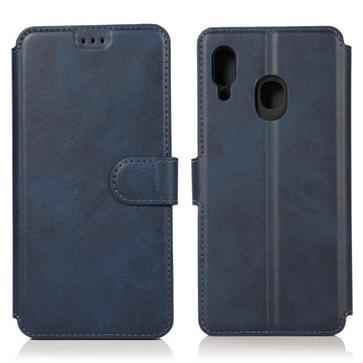 Voor Samsung Galaxy A30 Kalf texture Magnetic Buckle Horizontale Flip Lederen case met Holder & Card Slots & Wallet & Photo Frame(Blauw)