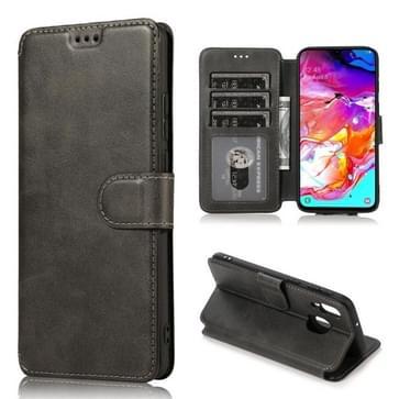 Voor Samsung Galaxy A40 Kalf texture Magnetic Buckle Horizontale Flip Lederen case met Holder & Card Slots & Wallet & Photo Frame(Zwart)