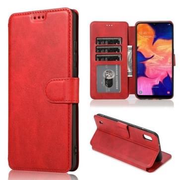 Voor Samsung Galaxy A40 Kalf texture Magnetic Buckle Horizontale Flip Lederen case met Holder & Card Slots & Wallet & Photo Frame(Red)