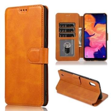 Voor Samsung Galaxy A40 Kalf texture Magnetic Buckle Horizontale Flip Lederen case met Holder & Card Slots & Wallet & Photo Frame(Khaki)