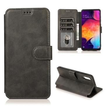 Voor Samsung Galaxy A50 / A70 Kalf texture Magnetische gesp horizontale flip lederen kast met houder & kaartslots & portemonnee & fotoframe(zwart)