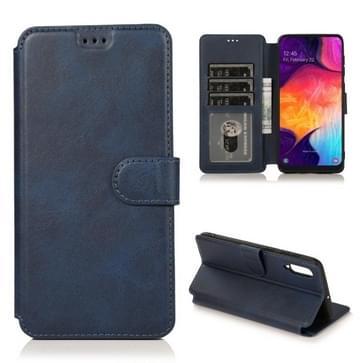 Voor Samsung Galaxy A50 / A70 Kalf texture Magnetische gesp horizontale flip lederen kast met houder & kaartslots & portemonnee & fotoframe(blauw)