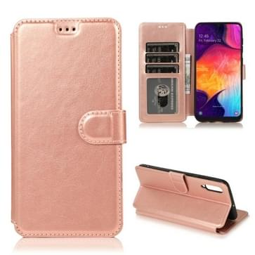 Voor Samsung Galaxy A50 / A70 Kalf texture Magnetische gesp horizontale flip lederen kast met Holder & Card Slots & Wallet & Photo Frame (Rose Gold)