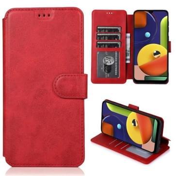 Voor Samsung Galaxy A50s Kalf texture magnetische gesp horizontale flip lederen case met houder & kaartslots & portemonnee & fotoframe(rood)