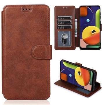 Voor Samsung Galaxy A50s Kalf texture magnetische gesp horizontale flip lederen case met houder & kaartslots & portemonnee & fotolijst(koffie)