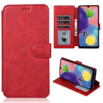 Voor Samsung Galaxy A70s Kalf texture magnetische gesp horizontale flip lederen case met houder & kaartslots & portemonnee & fotoframe(rood)