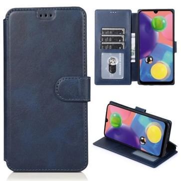 Voor Samsung Galaxy A70s Kalf texture magnetische gesp horizontale flip lederen case met houder & kaartslots & portemonnee & fotoframe(blauw)