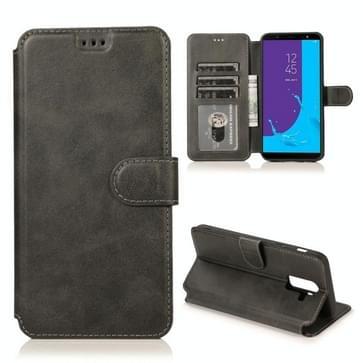 Voor Samsung Galaxy J8(2018) Kalf texture magnetische gesp horizontale flip lederen kast met Holder & Card Slots & Wallet & Photo Frame(Zwart)