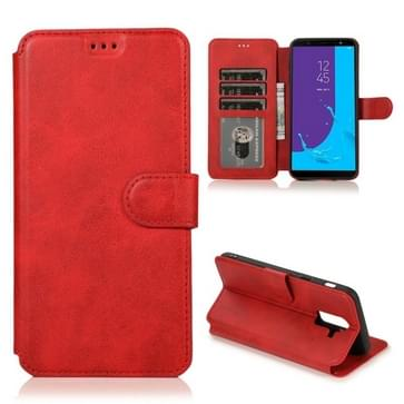 Voor Samsung Galaxy J8(2018) Kalf texture magnetische gesp horizontale flip lederen kast met Holder & Card Slots & Wallet & Photo Frame(Red)
