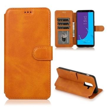 Voor Samsung Galaxy J8(2018) Kalf texture magnetische gesp horizontale flip lederen kast met Holder & Card Slots & Wallet & Photo Frame (Khaki)