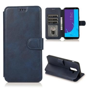 Voor Samsung Galaxy J8(2018) Kalf texture magnetische gesp horizontale flip lederen kast met Holder & Card Slots & Wallet & Photo Frame(Blauw)