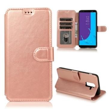 Voor Samsung Galaxy J8(2018) Kalf texture magnetische gesp horizontale flip lederen kast met Holder & Card Slots & Wallet & Photo Frame (Rose Gold)